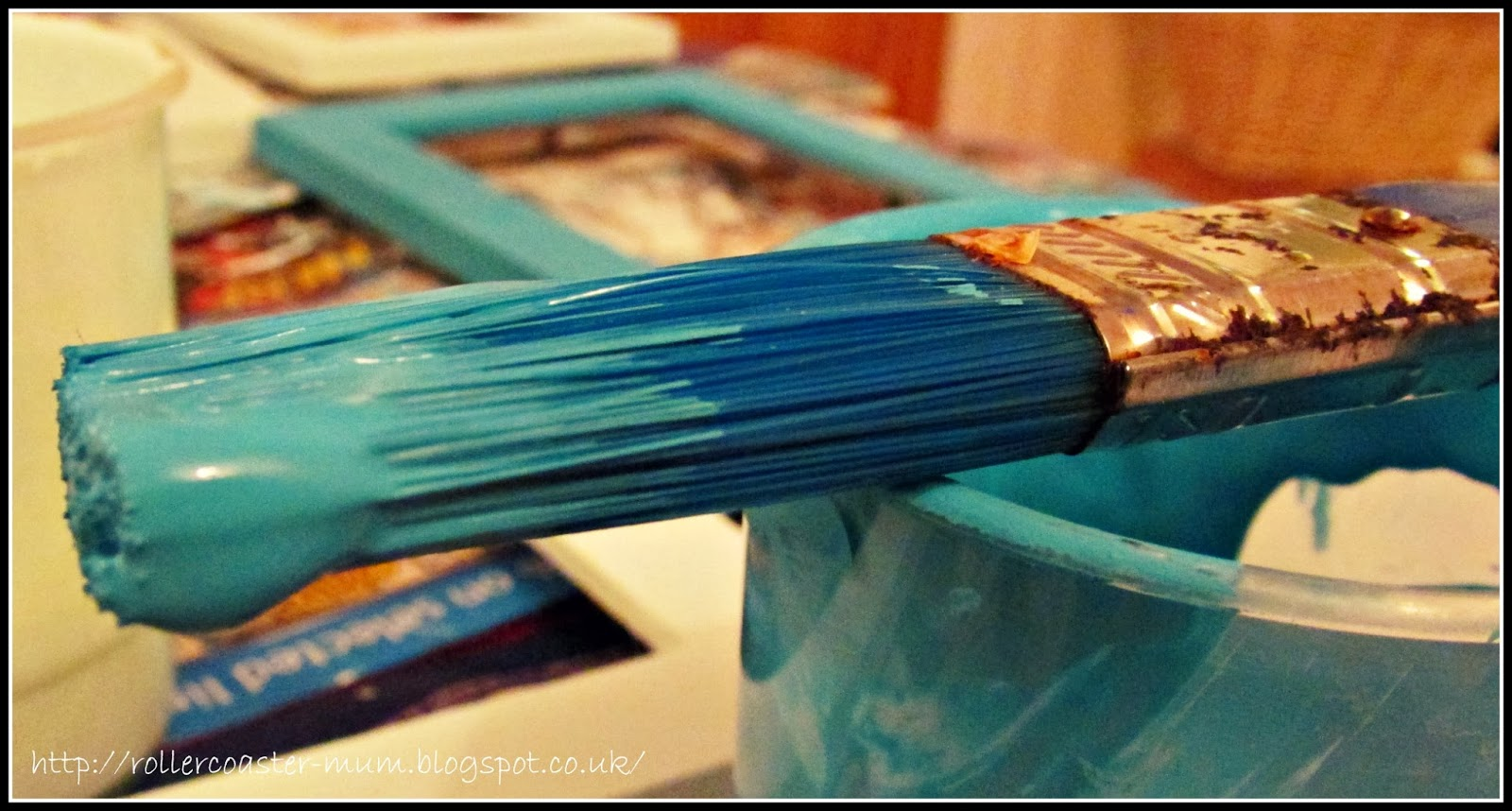 Painting with turquoise paint
