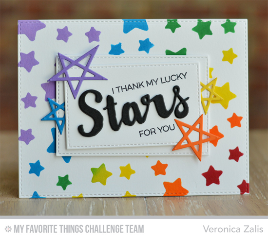 My Lucky Stars Card by Veronica Zalis featuring the Laina Lamb Designs Count the Stars stamp set, the LLD Stars & Wishes and Lucky Stars Die-mics, and the Stargaze stencil #mftstamps