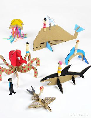 Φτιάχνουμε με χαρτόνι τα πλάσματα της θάλασσας-homemade toys