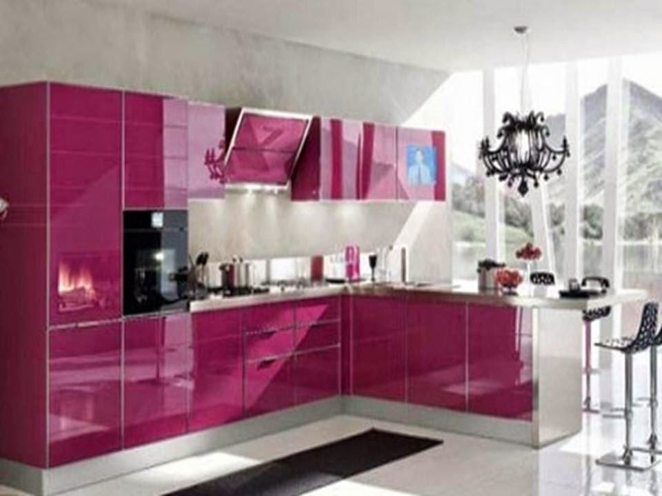 Home Decor Modern Purple Kitchen Cabinets