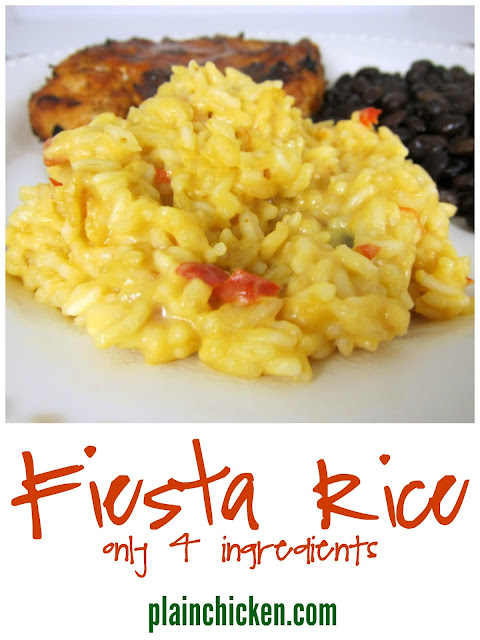 Fiesta Rice Recipe - simple Mexican rice dish with only 4 ingredients! Mix together and bake for 30 minutes. SO delicious!!