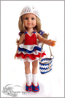 комплект нарядной одежды для куклы выполненный крючком