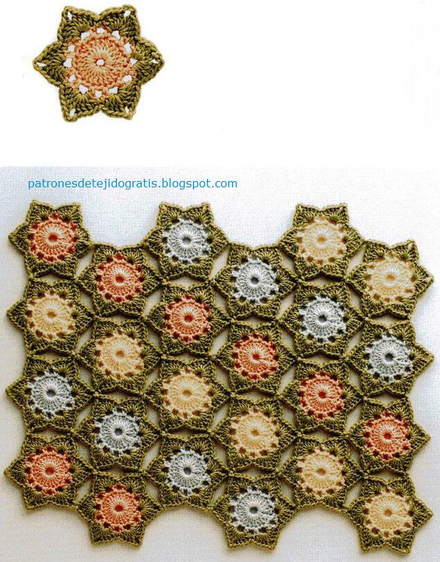 Patrones de motivos forma estrella para tejer con ganchillo