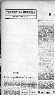 Blank editorial of  Indian Express