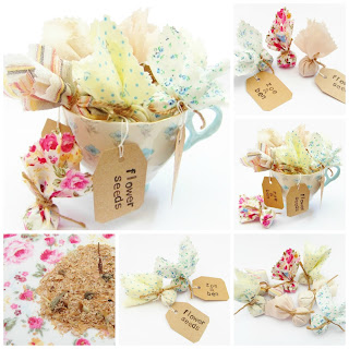 Cottage garden flower seed wedding favours by Random Button