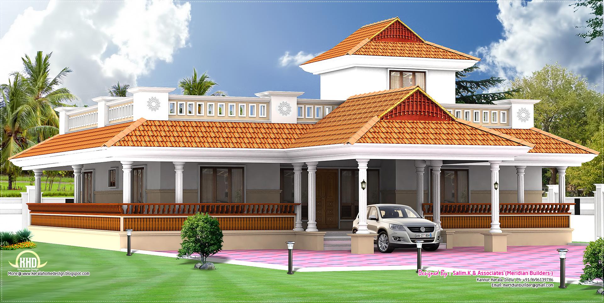 Kerala Style Vastu Oriented 2 Bedroom Single Storied