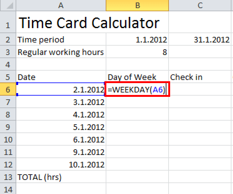 2 week time card calculator