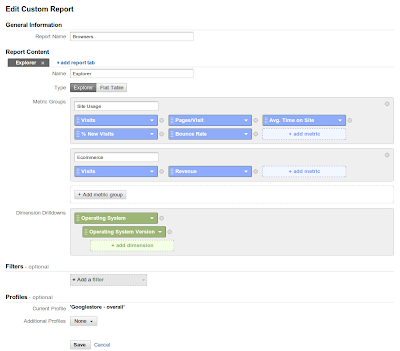 nuovo custom report builder