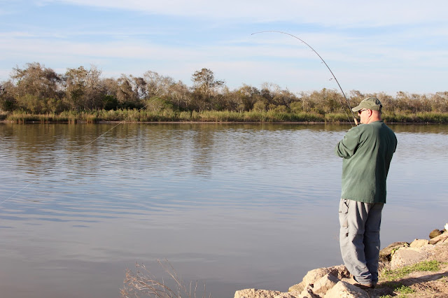 Fish On-Fishing From the Banks of the Colorado River-Pelican Point RV Park-Matagorda, Texas
