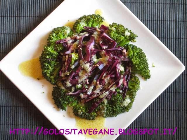 broccoli, cavolo cappuccio viola, Contorni, gomasio, insalata, lievito alimentare in scaglie, limoni, ricette vegan, vapore,