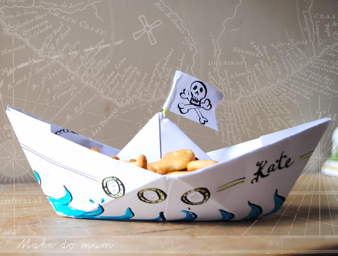 personalised origami pirate ship for kids party