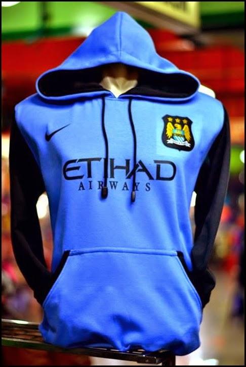 New Jumper Hoodie Bola Kombinasi 2014 - 2015 Manchester City (biru kombinasi hitam)
