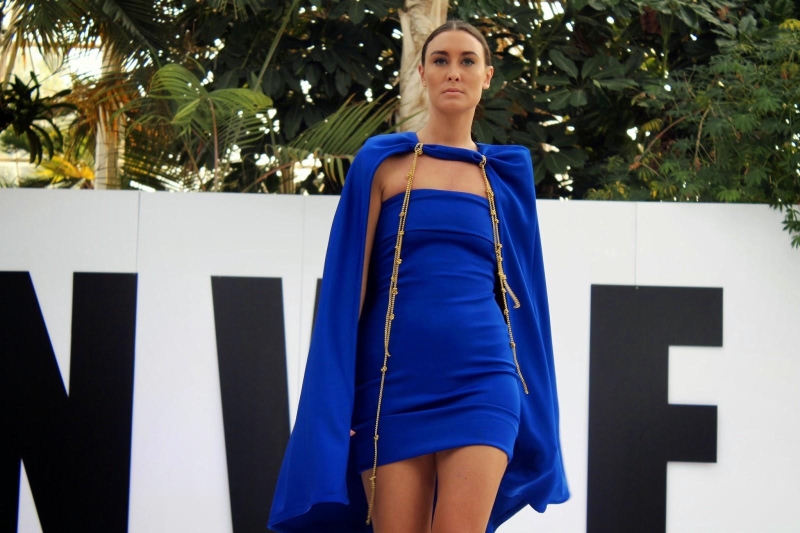 blue dress and cape