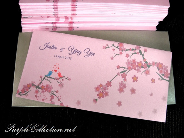 Sakura Pink Cherry Blossom Wedding , Sakura Pink Cherry Blossom, Sakura, Pink, Cherry Blossom, Wedding, Love Bird Wedding Card, Pearl Silver Envelope, Pearl Grey Envelope, Japanese sakura wedding card