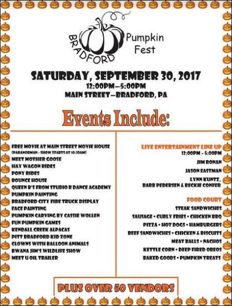 9-30 Pumpkin Fest, Bradford, PA