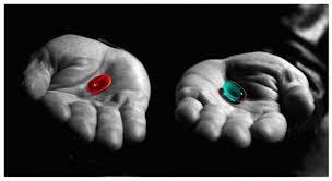 Invenções- Cena de matrix onde é oferecido as duas pílulas, uma revela a verdade e a outra limpa a mente