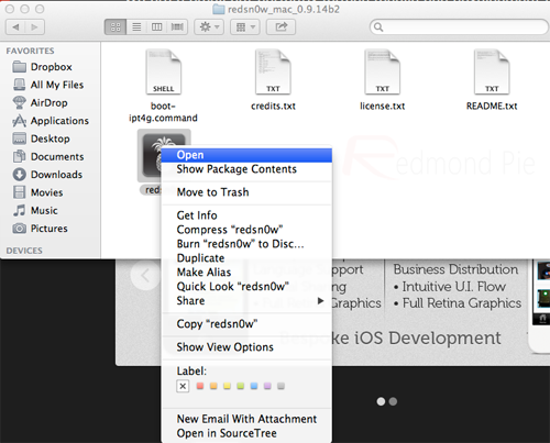 redsn0w device of Mountain Lion