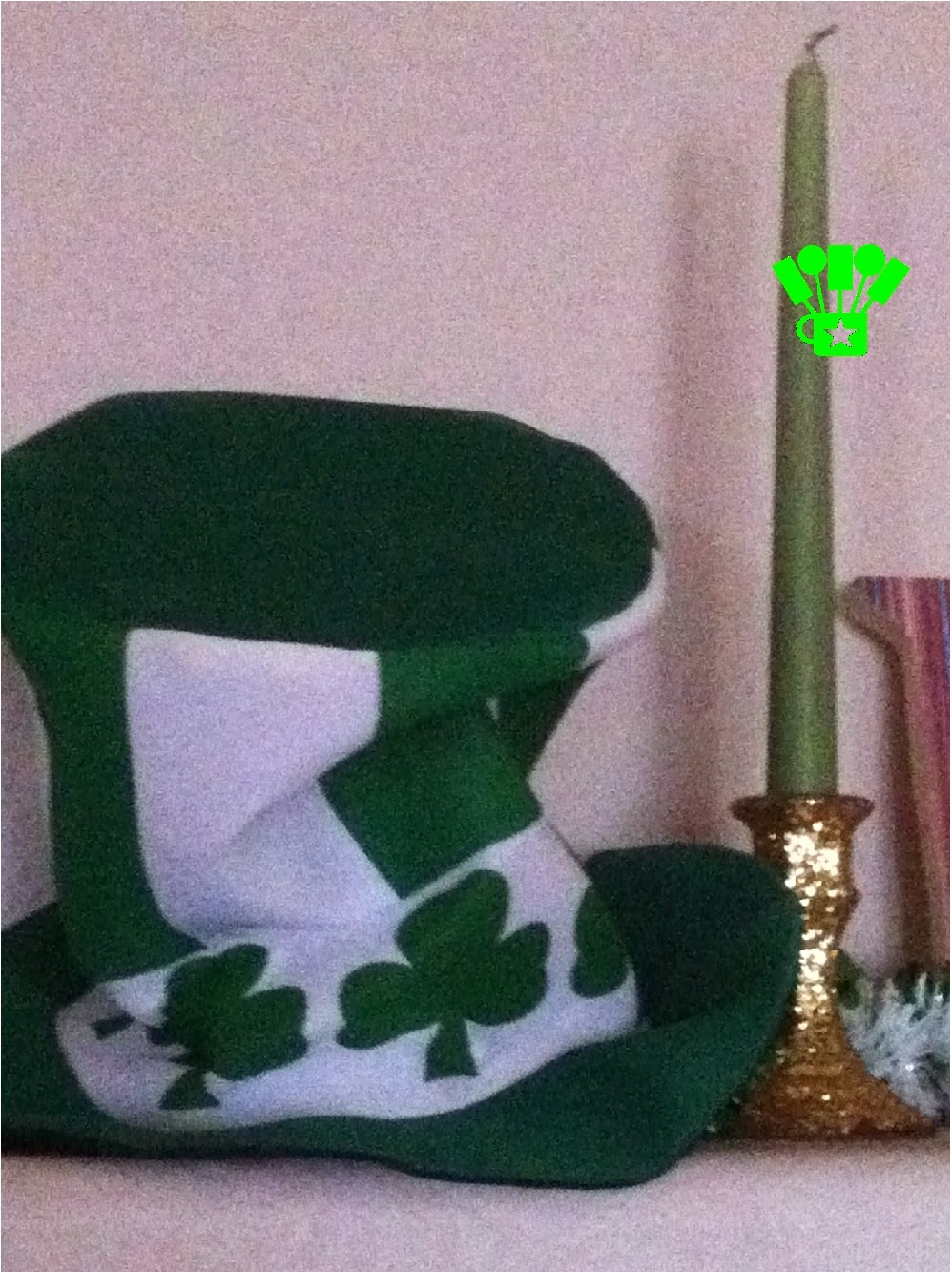 Leprechaun Hat on St Patricks Day mantel