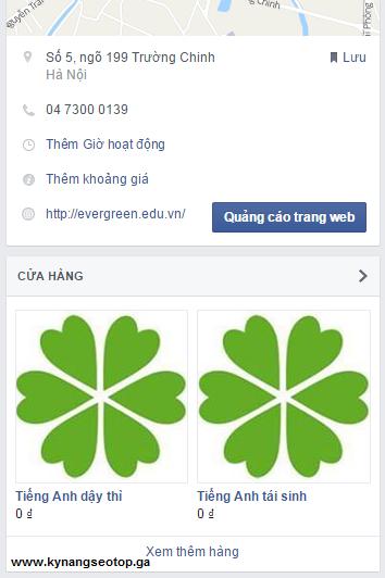 Giao diện cửa hàng trên facebook fanpage