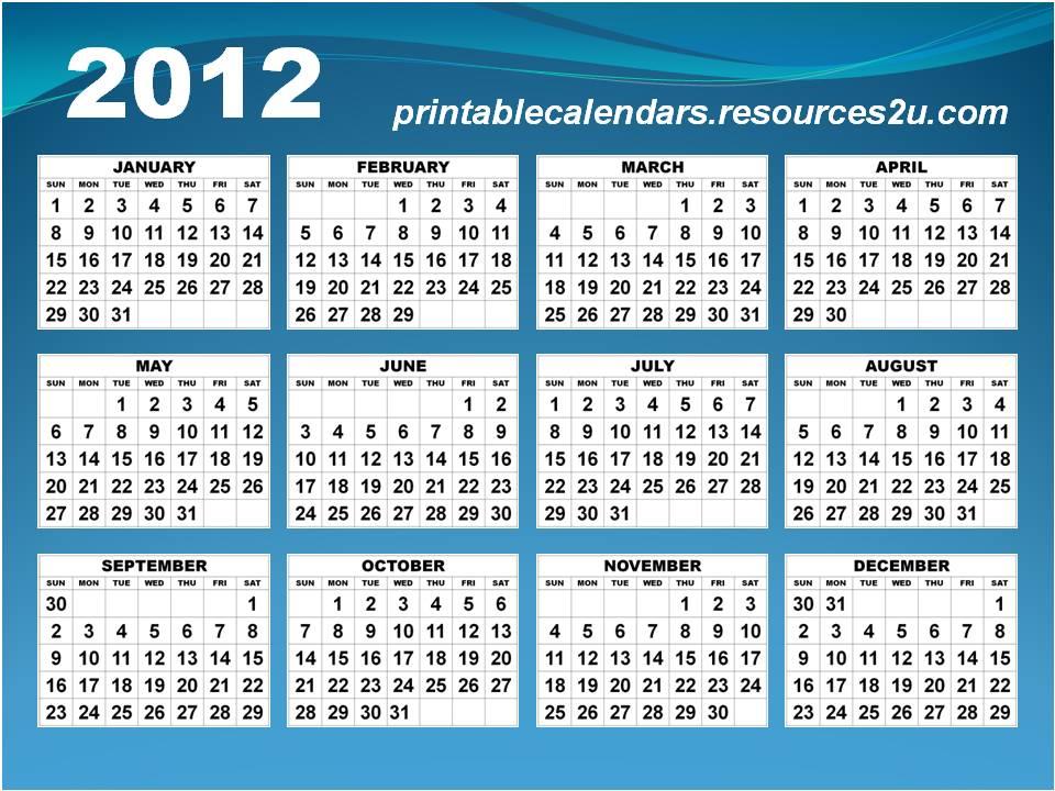 2012 calendar printable. Horizontal Calendar 2012 in