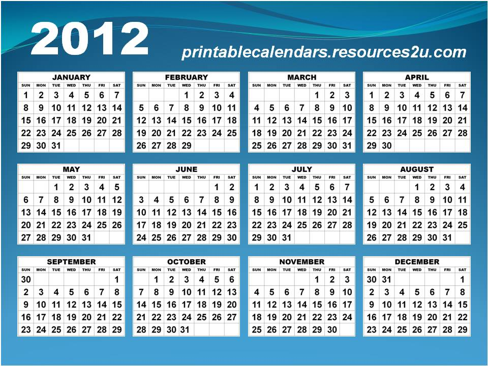 january calendar 2012. Horizontal Calendar 2012 in