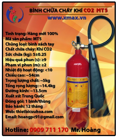 Bình chữa cháy khí CO2 MT5 5kg loại xách tay