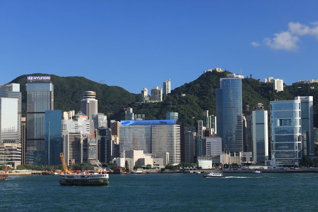 Office buildings located along Victoria Harbour in Hong Kong