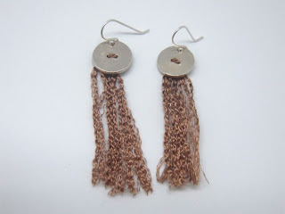 silk, sterling silver, bronze, tassel, earring