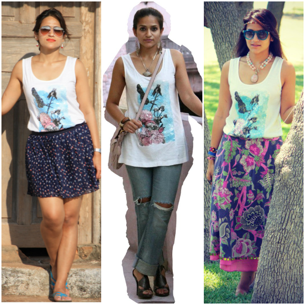 Three Ways To Wear Printed Tank Top, Tanvii.com