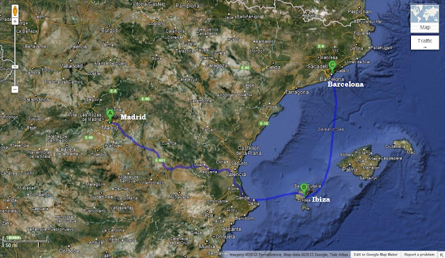 madrid to ibiza to barcelona journey map