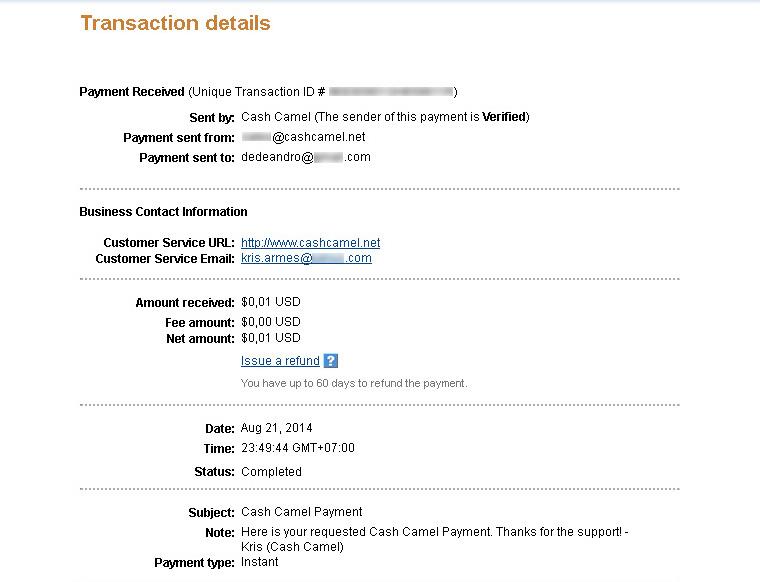 CashCamel Payment II August 2014
