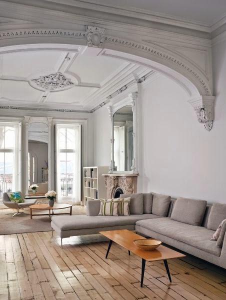 large open floor plan white living room retailed ceiling design