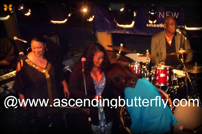 Left: Angela, back up singer, Center: Maysa who is helping Right: Ms. Angela Bofill to her seat on stage!