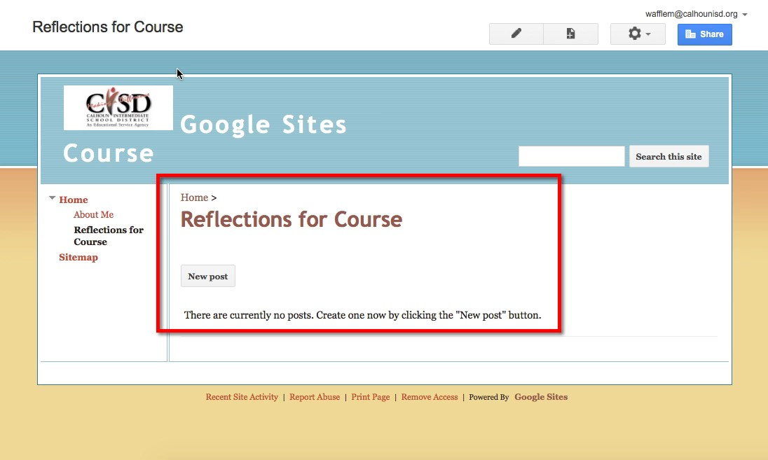 how to create a google site page