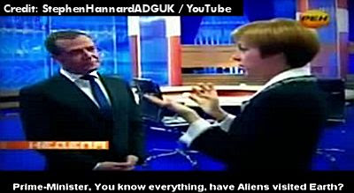 Dmitry Medvedev Jokes Baout Aliens with Reporter 12-7-12