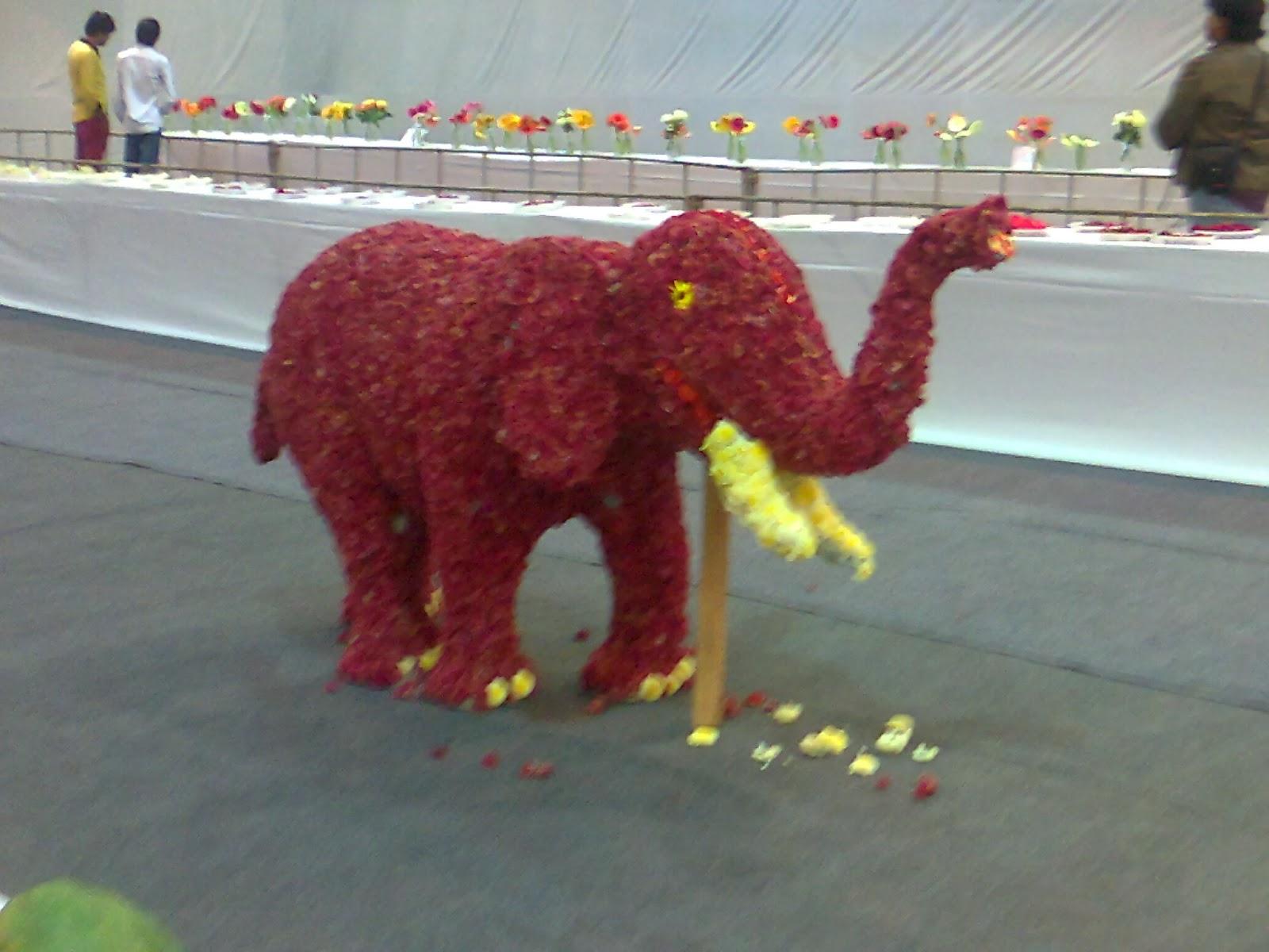 flower elephant statue