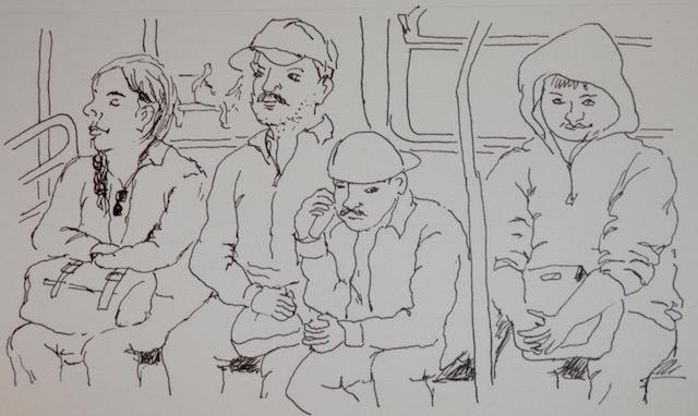 Resultado de imagen para urban sketch public train
