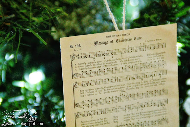 antique Christmas music page printables for Christmas tree ornaments - KnickofTime.net