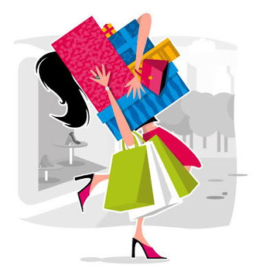 cartoon girl shopping
