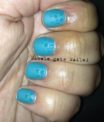 Matte Green Polka Dots Nail Art