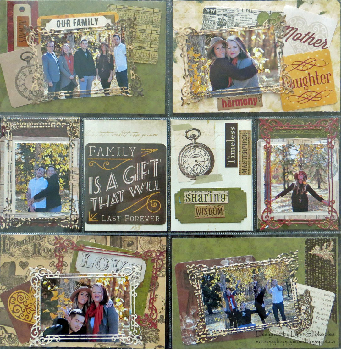 Family Misc.Me Layout by Lynn Shokoples for BoBunny featuring the Heritage Collection