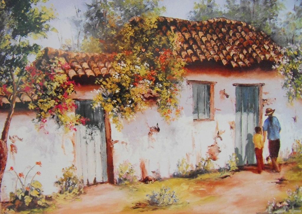 Pinturas cuadros lienzos cuadros de casas de pueblos - Casas en pueblos ...