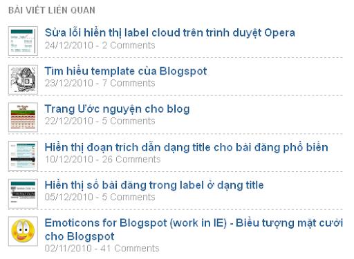 Bài viết liên quan có ảnh hiển thị hàng dọc blogspot