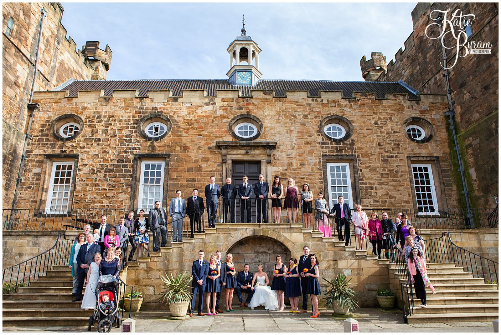 group photo at wedding, lumley castle wedding, durham wedding, katie byram photography, diane harbridge, carli peirson make up, the big event make up, wedding venues north east, northumberland wedding, quirky wedding photography, travel themed wedding, castle wedding north east, newcastle wedding, chester-le-street