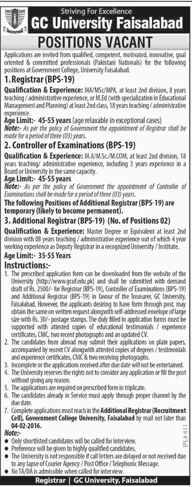Admin Jobs in GC University Faisalabad