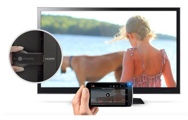 Google introduced Chromecast, HDMI key sold 35 dollars and allows you to stream your content from external devices (smartphones, tablets, PCs, etc.). Directly on your TV via WiFi