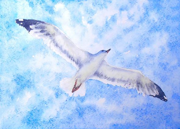 акварельная птица