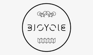 Stylized word Bicycle with impressionist versions of bikes