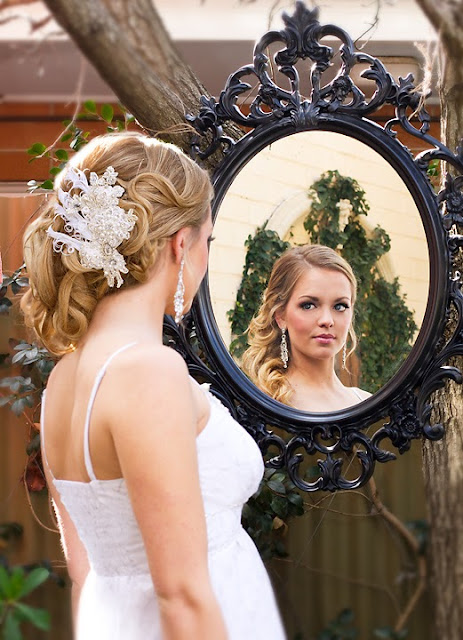 "Beautiful Bride wearing feather headpiece- ""Madeline Bridal Headpiece"""