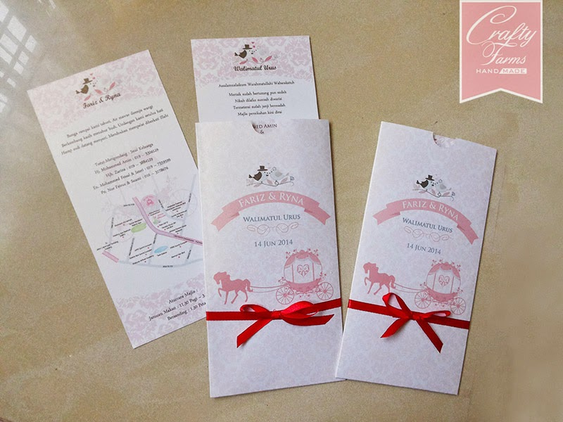 Pink and Red Horse Carriage Pocket Wedding Card with Ribbon and Love Birds
